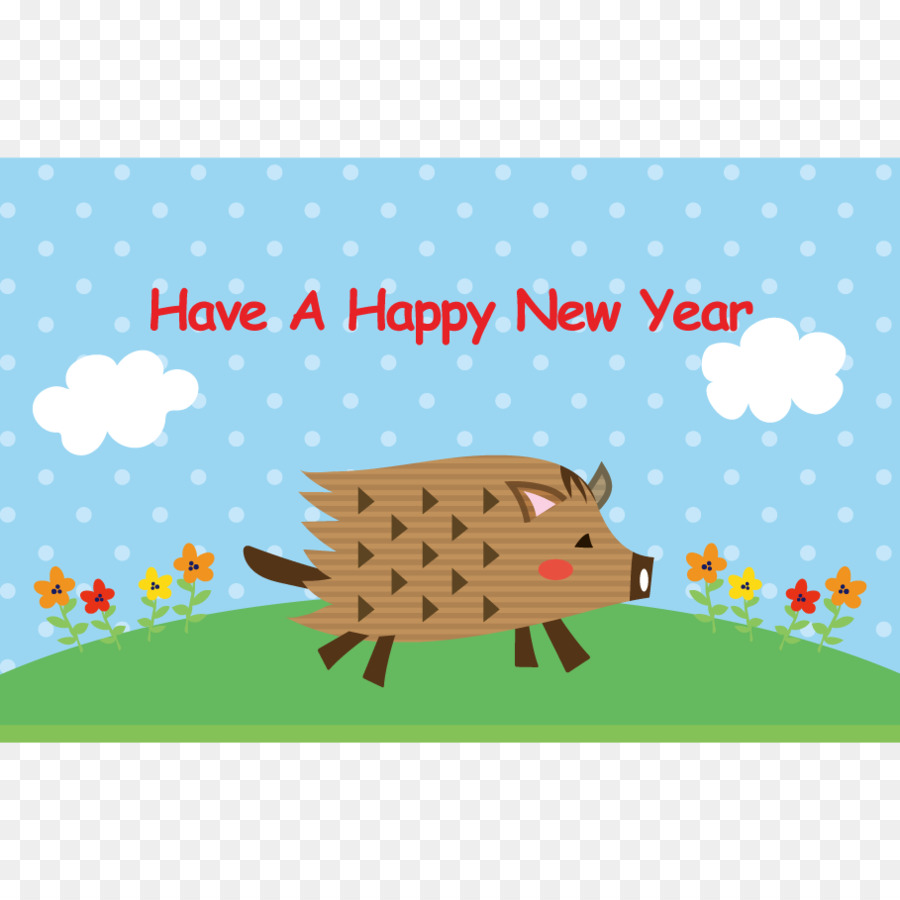 Wild Boar New Year Card Greeting Note Cards Mammal Boar Png