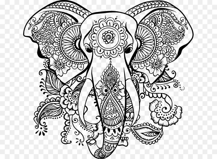 Mandala Coloring Book Elephantidae AutoCAD DXF