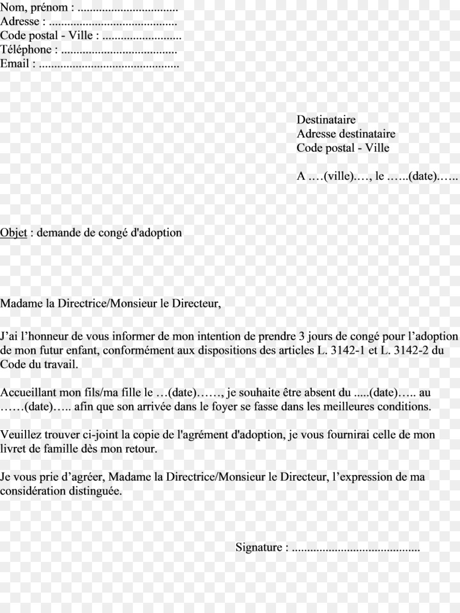 Document De Conge De Paternite En France Lettre D Autorisation D