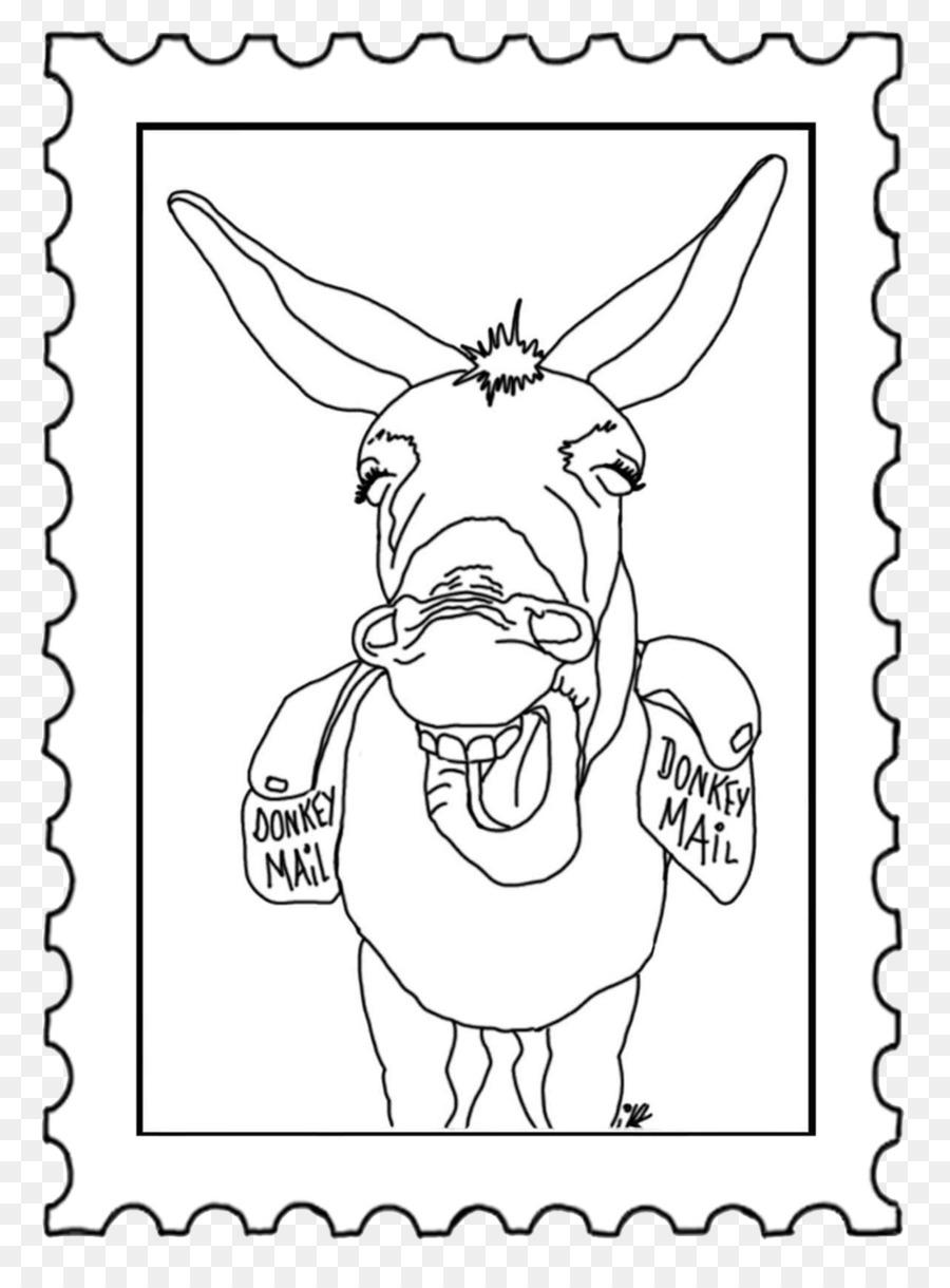 Libro para colorear en Línea de arte Burro animal Pack - sello de ...