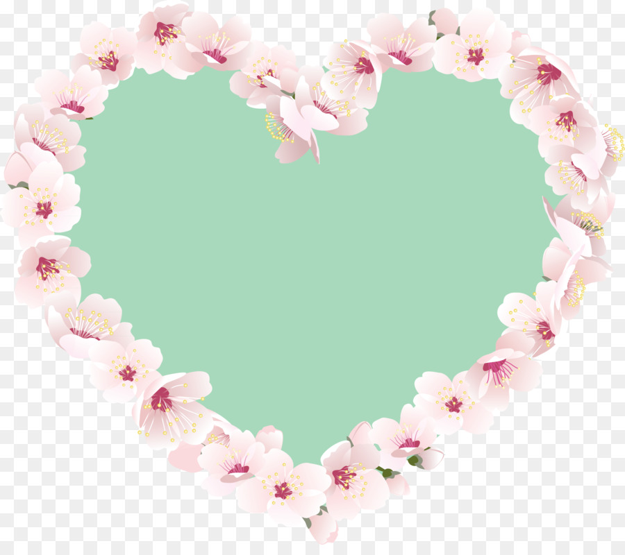 Heart Pink Border Flowers Heart Png Download 26012268 Free