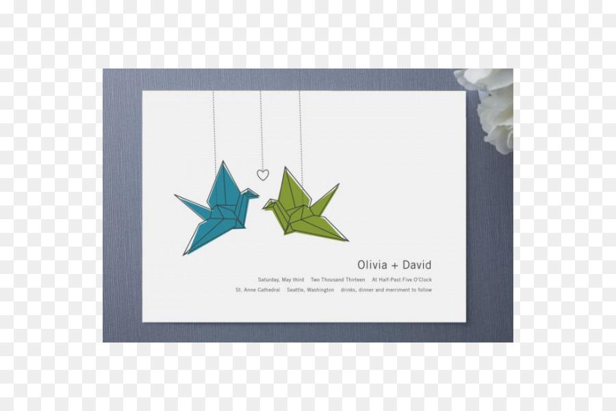 Wedding invitation Paper Crane Origami Orizuru - crane png download ...