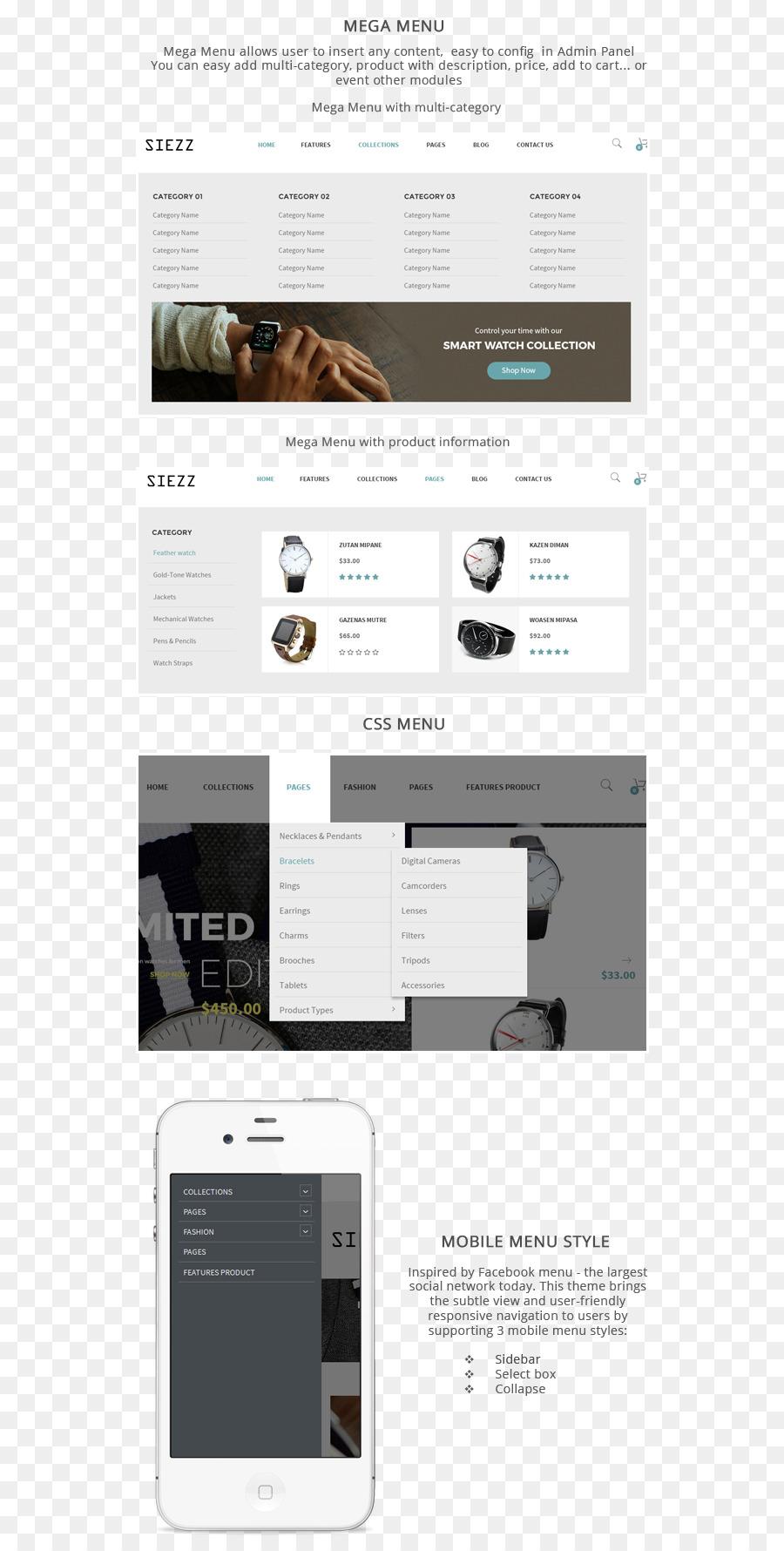 El diseño web responsivo Marca Siezz Fuente - plantilla de menú ...