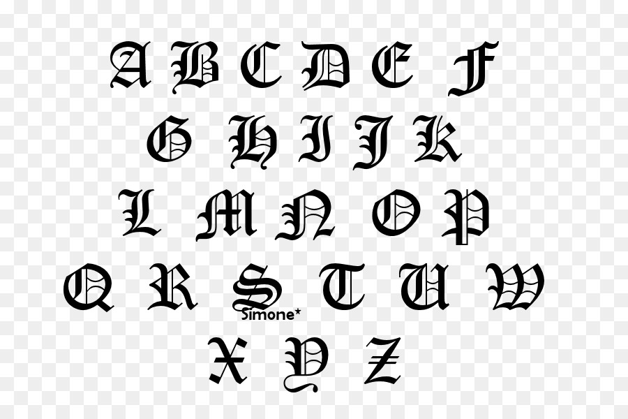 Old English Latin Alphabet Lettering Gotico Png Download 800600