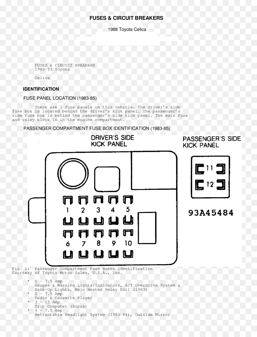 93 Toyota Celica Fuse Box Diagram Wiring Library Motor Paper Logo Technology Font Is About Text Black And White Line