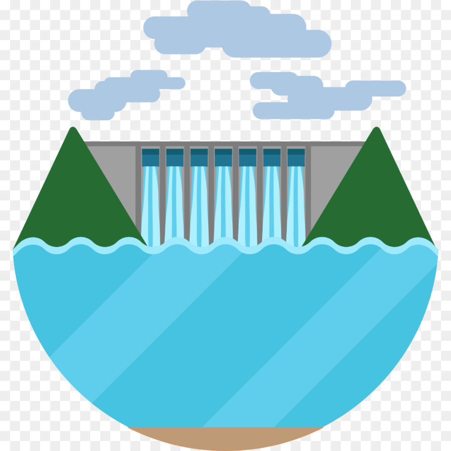 Hydroelectricity Hydropower Dam Power Station Clip Art Water Hydro Plant Line Diagram Energy