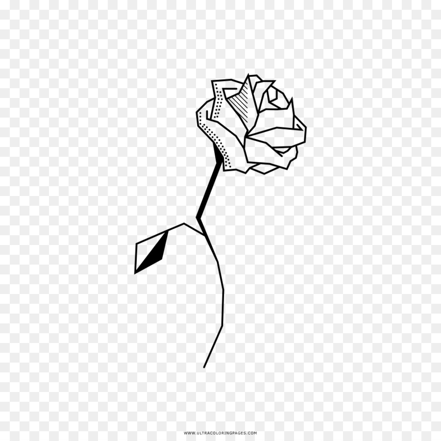 Coloring book Drawing Black and white Line art - rose png download ...