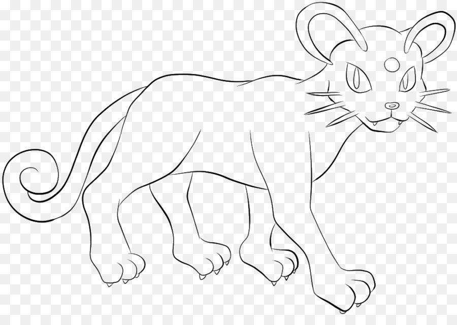 León de la Línea de arte persa Meowth libro para Colorear - león png ...