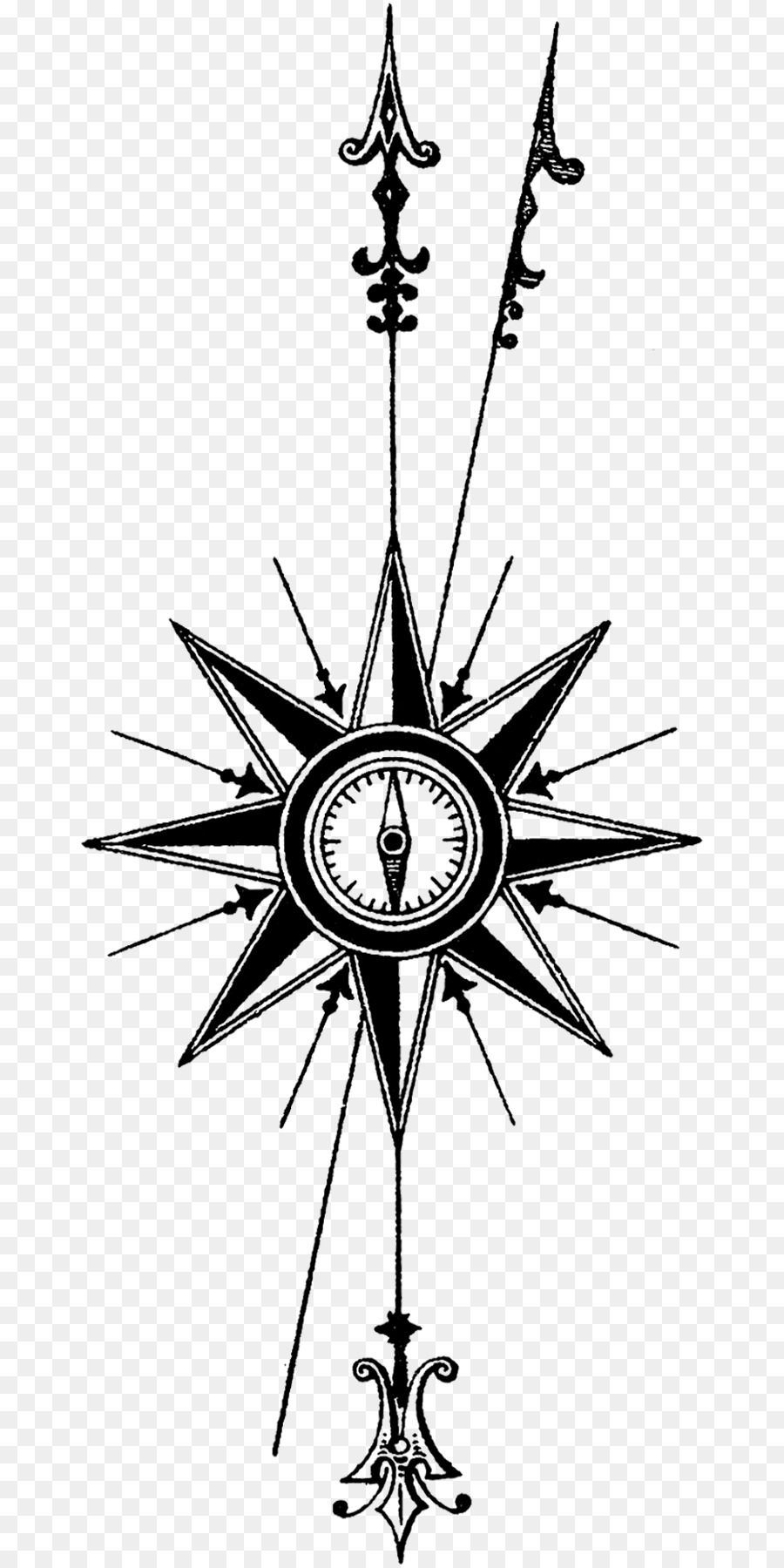 True north Compass rose Tattoo - north point png download - 721*1800 ...