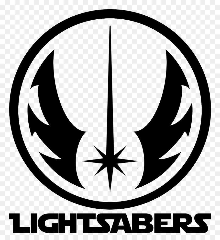 Logo lightsaber new jedi order black and white line png