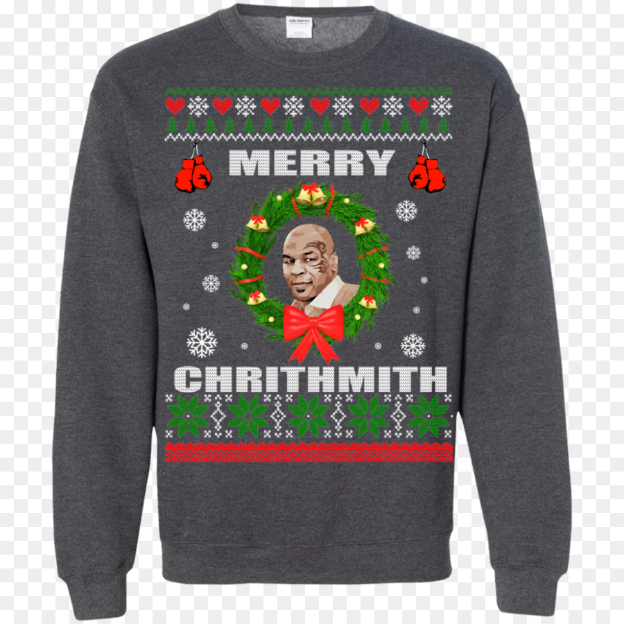 Hoodie T-shirt Christmas jumper Sweater - mike tyson png download ...