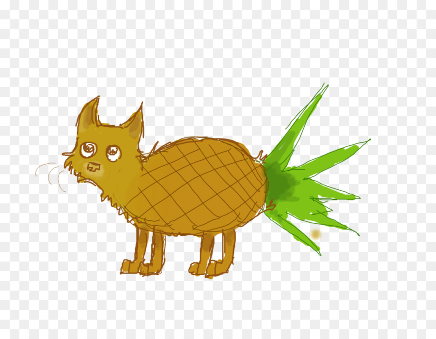 Cat Cartoon Tail Wildlife Pineapple Draw Png Download 1028 777