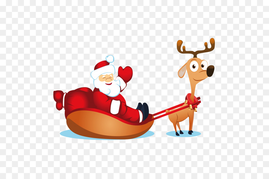 Santa Claus Christmas card Reindeer Sled - santa claus png download ...