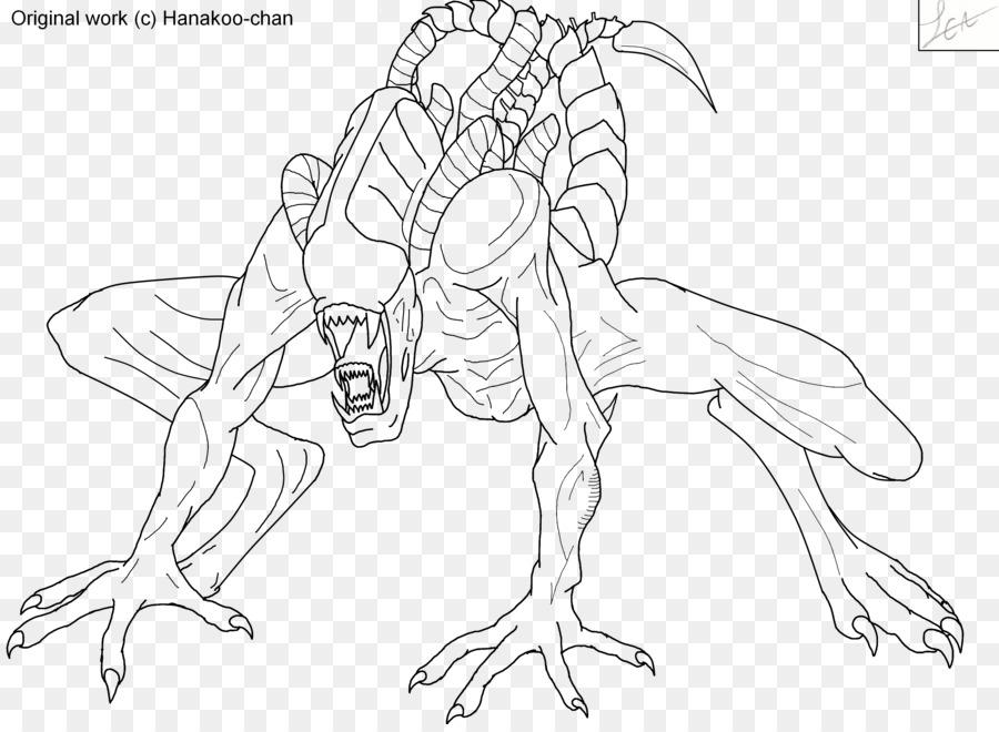 Alien Linea Arte Predator Disegno Da Colorare Alieno Scaricare Png