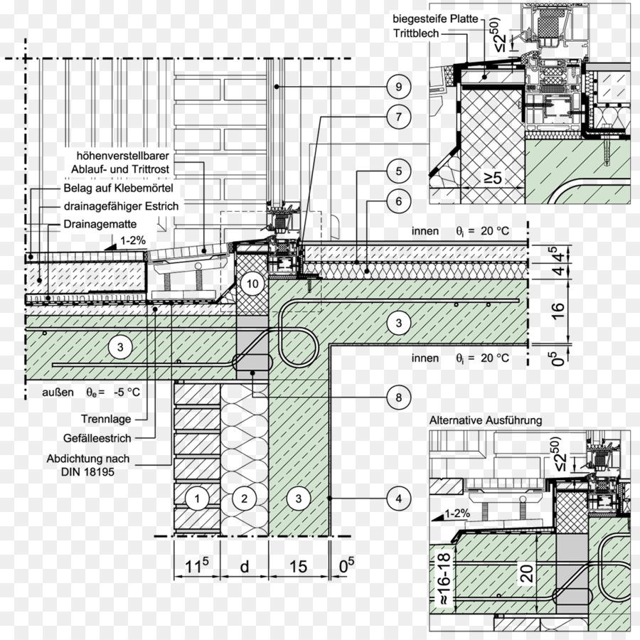 Technische Zeichnung Balkon Detail Mauerwerk Furnier Fenster