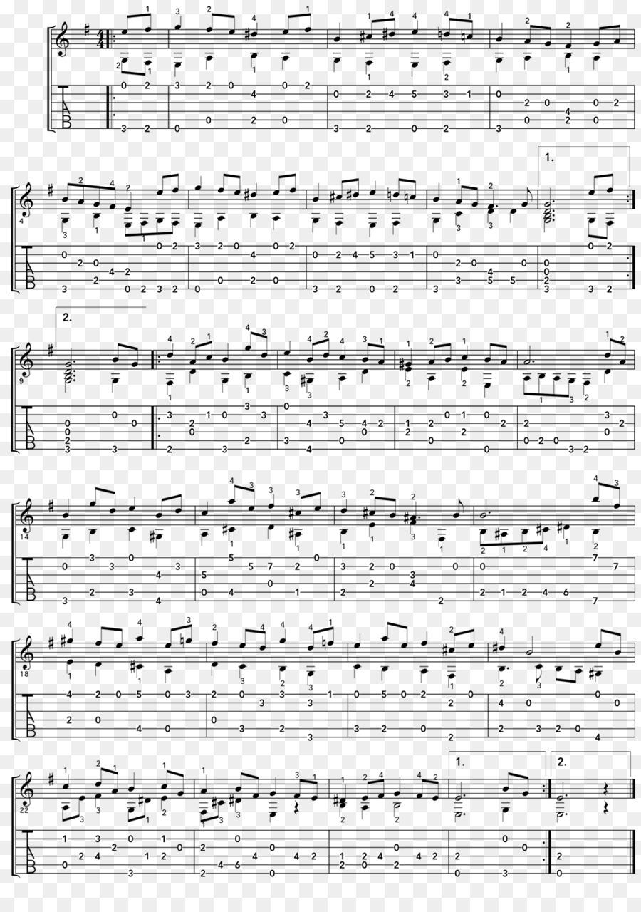 Bourrée in E minor Tablature Acoustic guitar Lute Suite in E minor ...