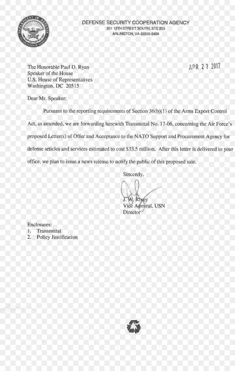 Template Letter of transmittal Document PDF - Arms Export Control ...