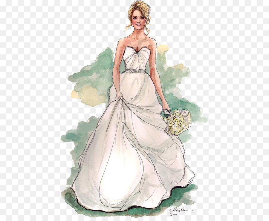 Drawing Wedding dress Sketch - wedding png download - 494*734 - Free ...