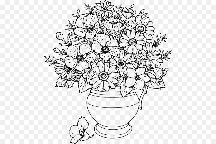 Libro para colorear Dibujo Jarrón de Flores de la Rosa - florero png ...