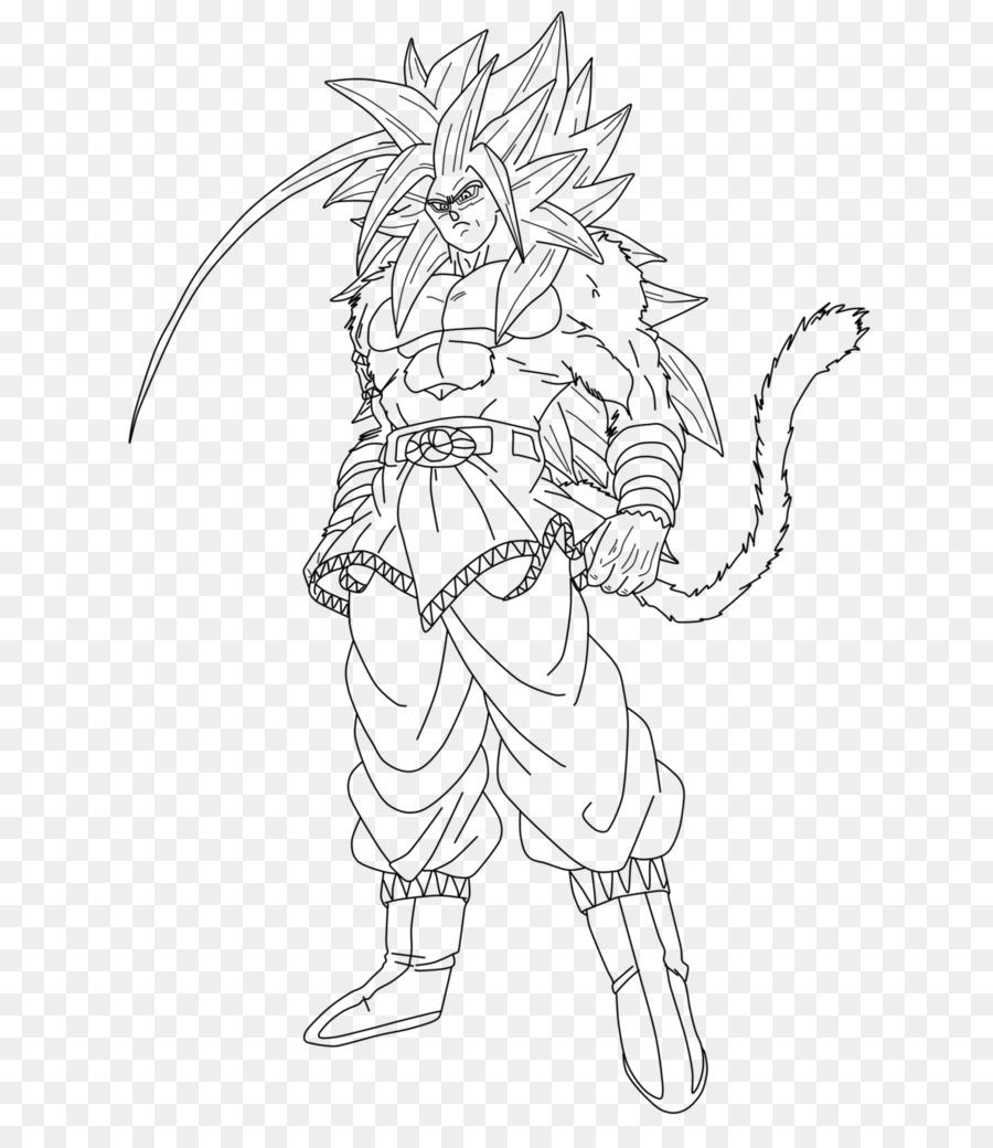 Goku vegeta super saiyan line art white png