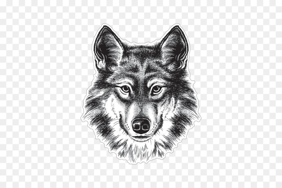Gray Wolf Siberian Husky Coyote Drawing Sketch Wolf Sticker 600