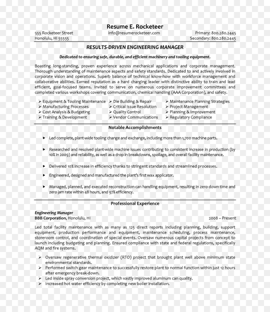 Résumé Engineering Management Manufacturing engineering Civil ...