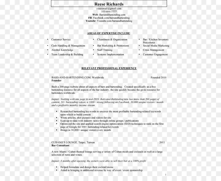 résumé template bartender essay writing resume cv png download