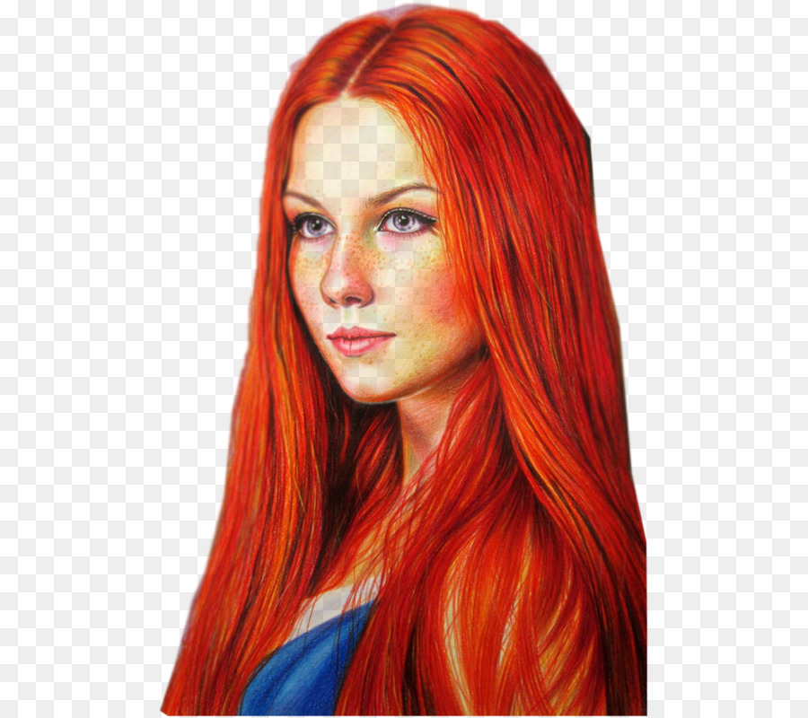 Red Hair Colored Pencil Drawing Pencil Png Download 553800