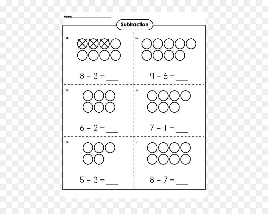 Subtraction Worksheet Kindergarten First grade Learning ...