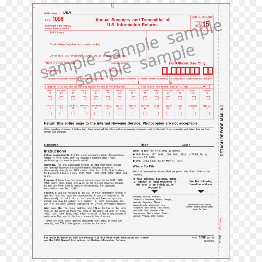 document form 1096 internal revenue service irs tax forms blank
