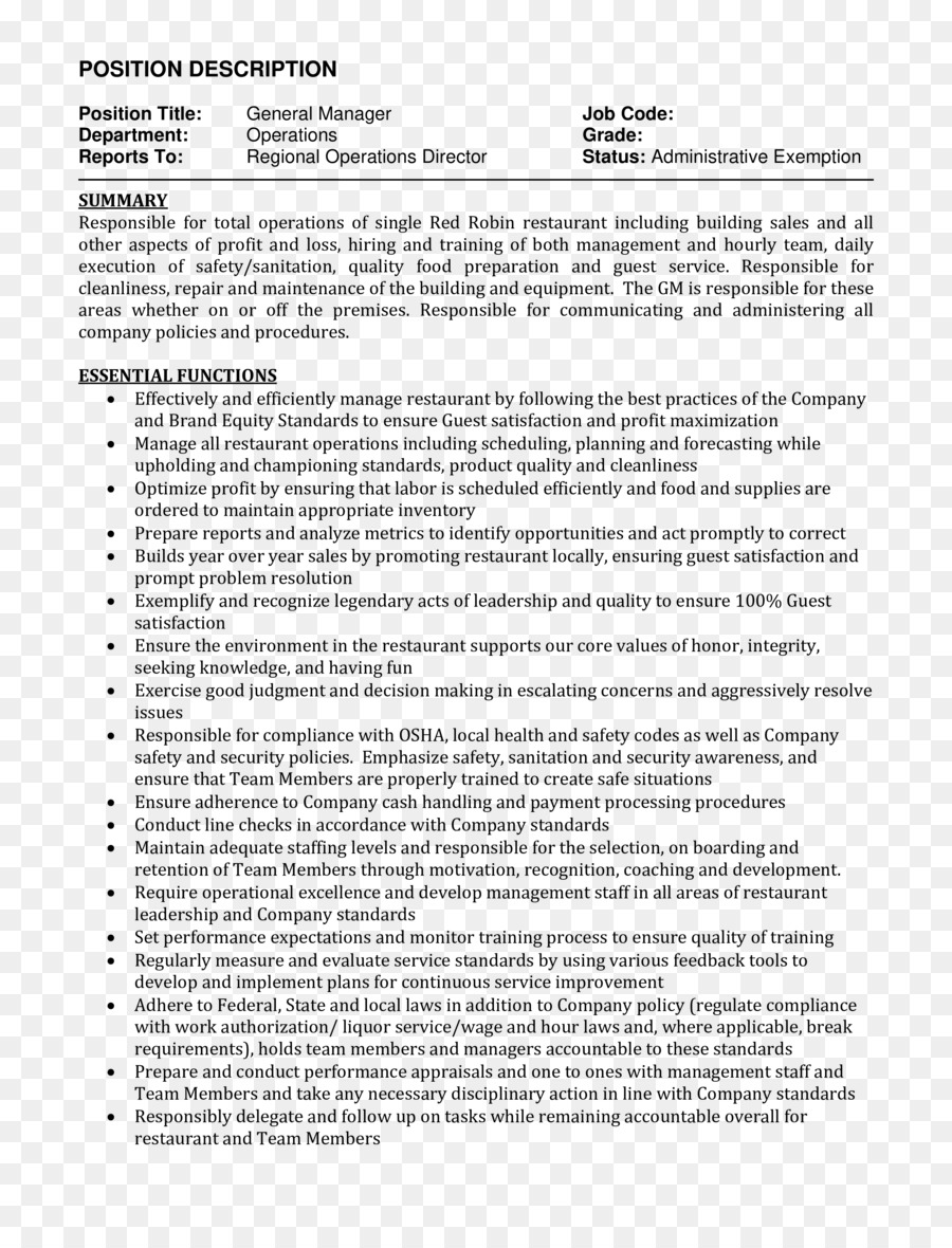 Résumé Job description Curriculum vitae Cover letter Template ...