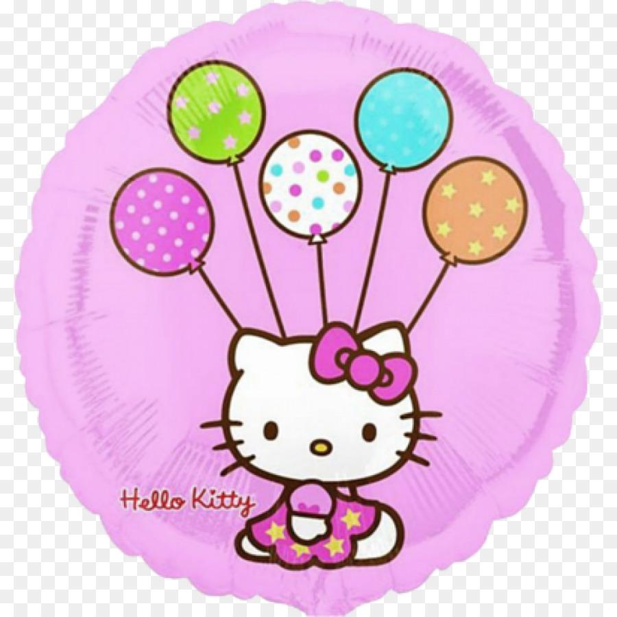 Hello Kitty Balloon Birthday Party Cloth Napkins Balloon Png
