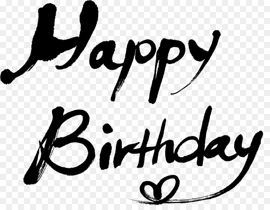 Black And White Happy Birthday png download - 3279*2488