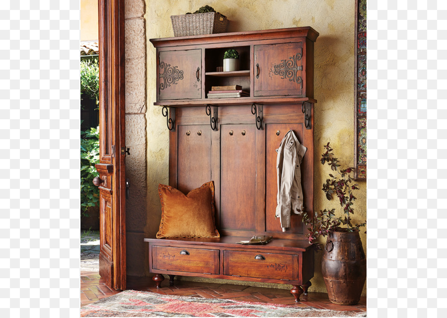 Hall Tree Entryway Bench Furniture Antique Png