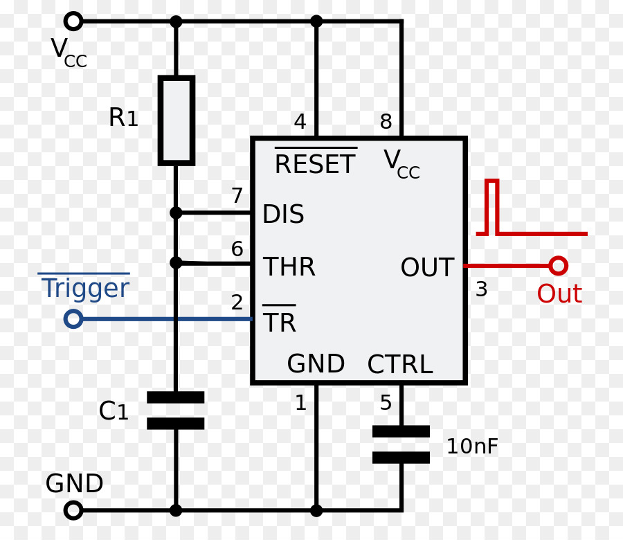 555 Timer IC Astable Multivibrator Integrated Circuits Chips Electronic Circuit