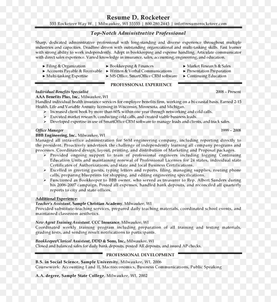 Resume Front Office Office Administration Office Management Template