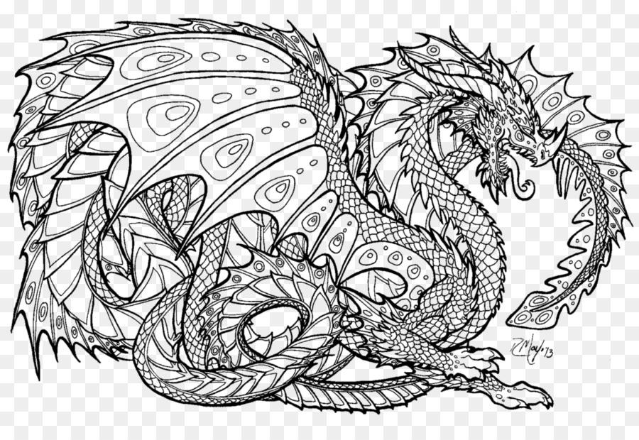 Libro para colorear dragón Chino para Adultos sin dientes - dragón ...