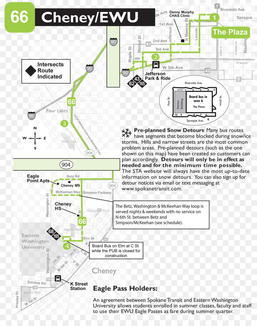 Eastern Washington University Spokane Transit Authority Map Eagle