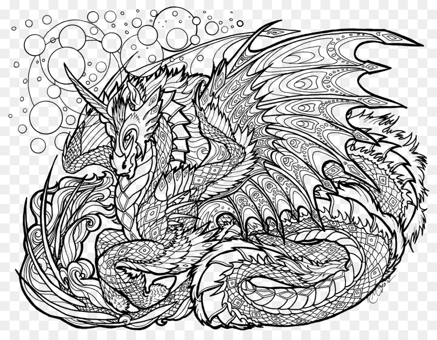 Coloring book Adult Dragon Mandala Drawing - dragon png download ...