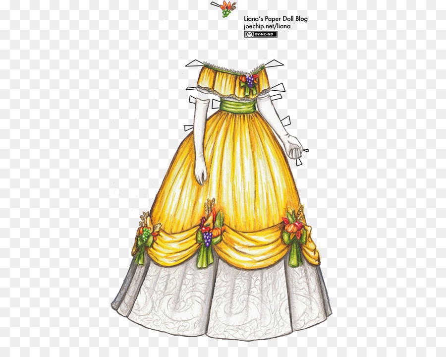 Dress Ball gown Paper doll Evening gown - Paper Ribbon png download ...