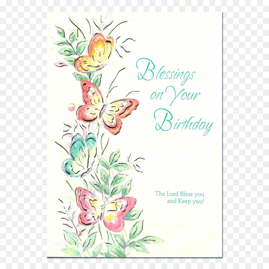 Floral Design Birthday Greeting Note Cards Blessing Birthday Png