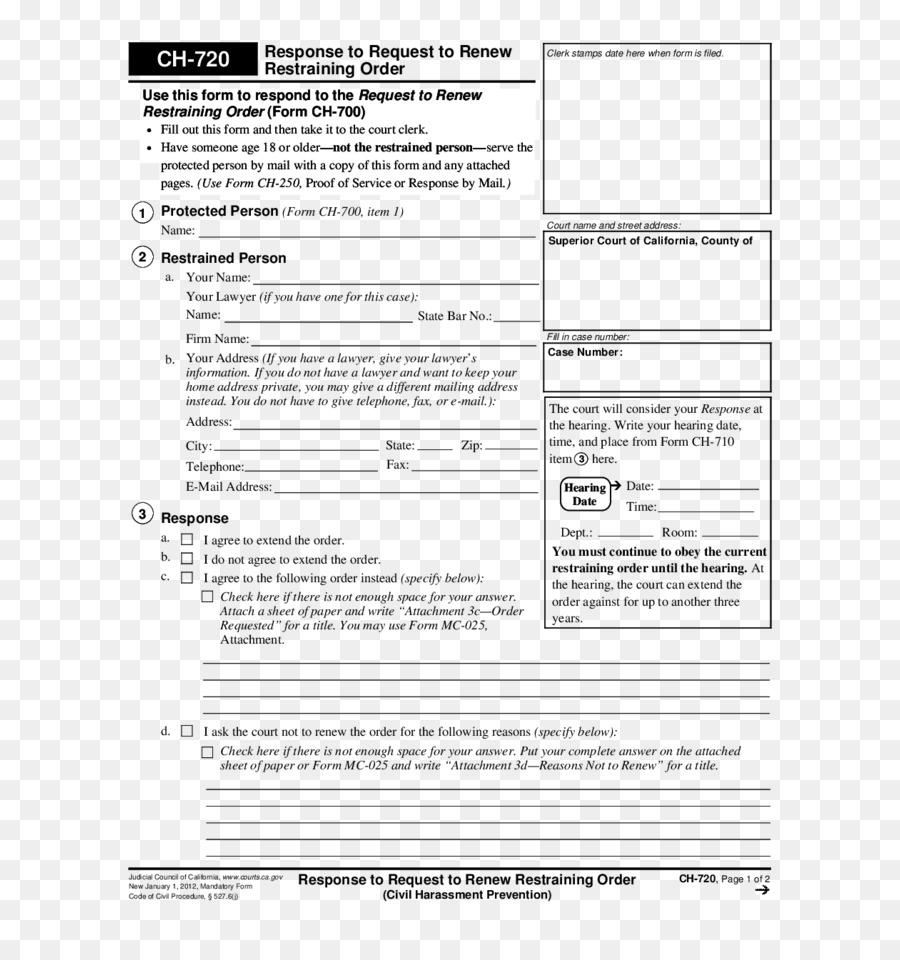 Civil Harassment Restraining Order Document Court