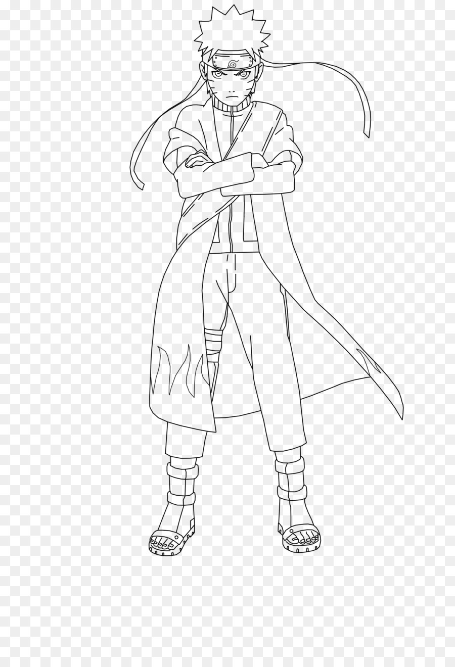 Naruto uzumaki black and white pain line art clothing png