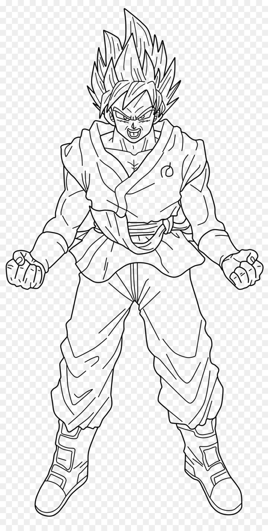 Line Art Goku Vegeta Super Saiyan Gogeta Goku Png Download 1024