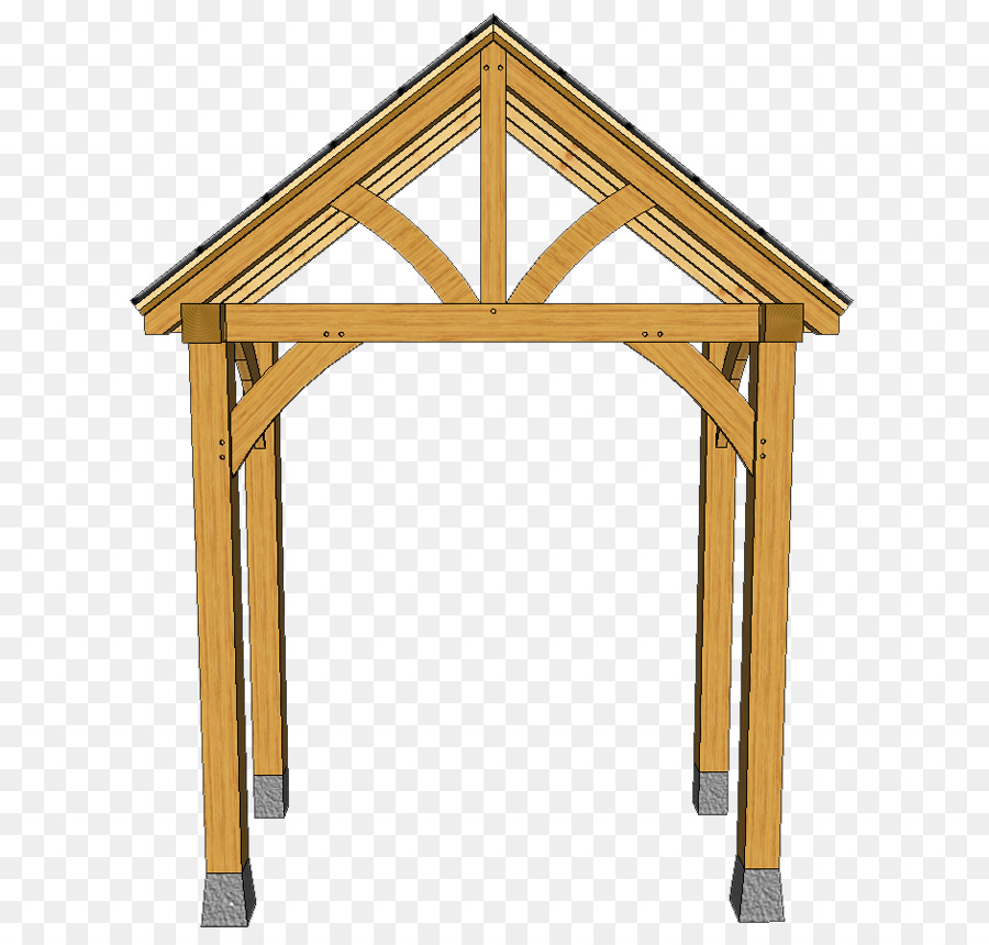 Porch Post Timber framing Shed Roof - wooden truss png download ...