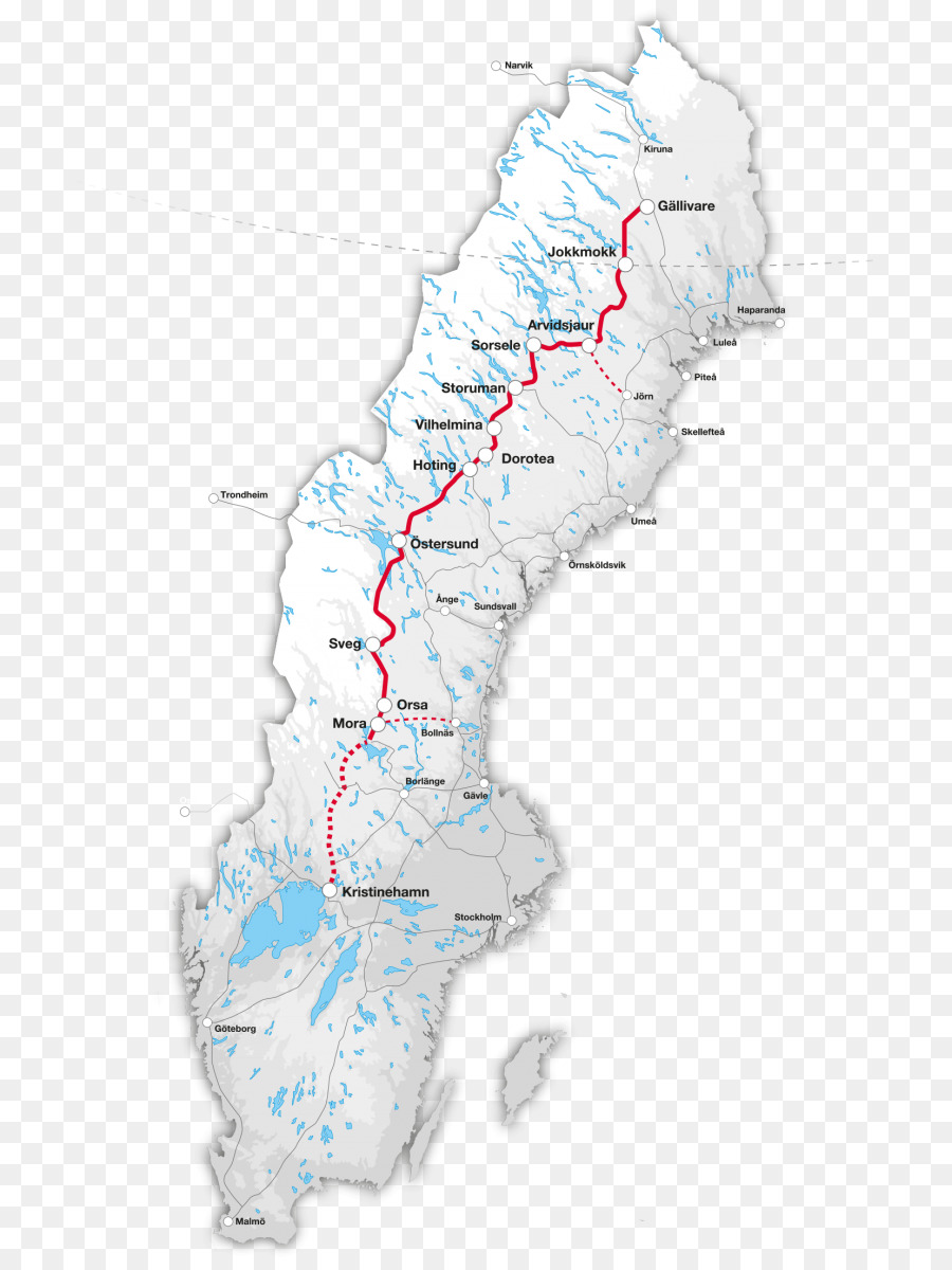 Inland Line Rail transport in Sweden Inlandsbanan AB Map - map png ...