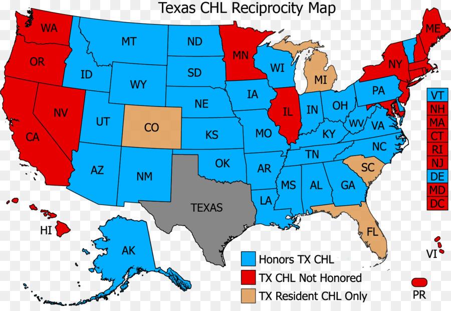 Texas Concealed Carry Reciprocity Act of 2017 Handgun Map ...