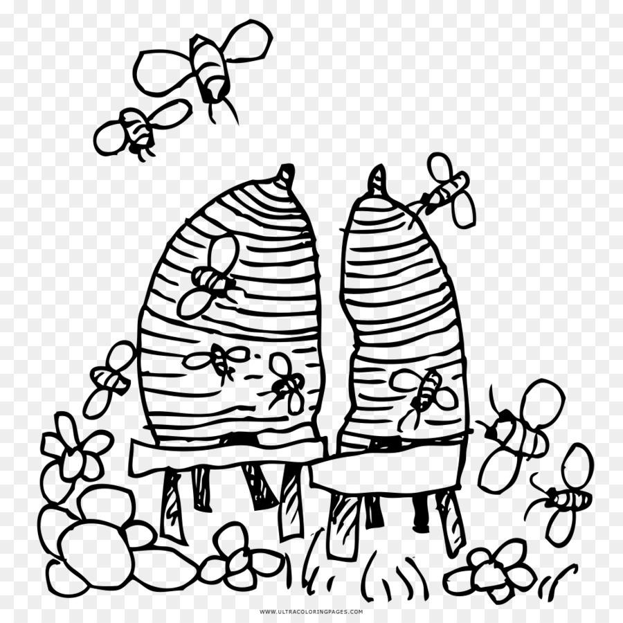 Beehive Siyah Ve Beyaz çizim Boyama Kitabı Arı Kovanı Arı Png
