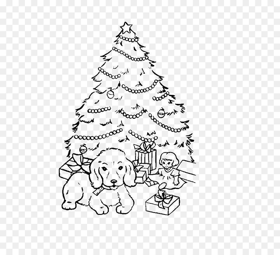 Coloring book Puppy Christmas tree - puppy png download - 600*812 ...