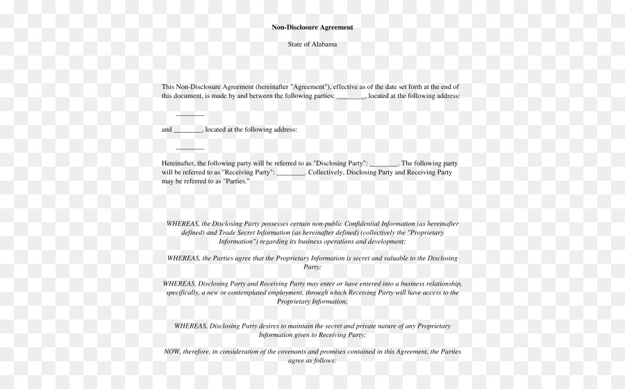 Non Disclosure Agreement Document Information Template Disclosure
